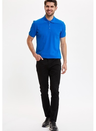 DeFacto Regular Fit Polo Yaka Basic  Kısa Kollu Mavi Tişört Mavi